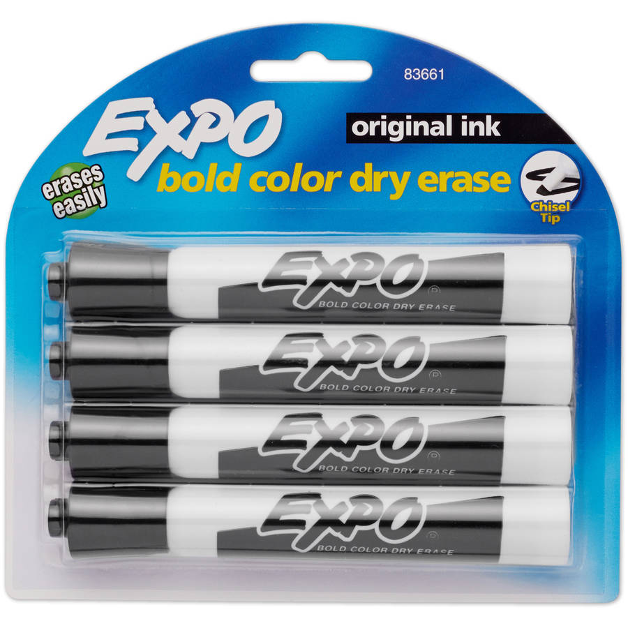 Expo Dry Erase Markers, Black, 4pk