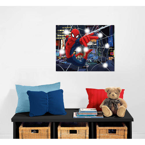 Marvel Wall Art marvel spiderman light up canvas wall art with bonus led lights