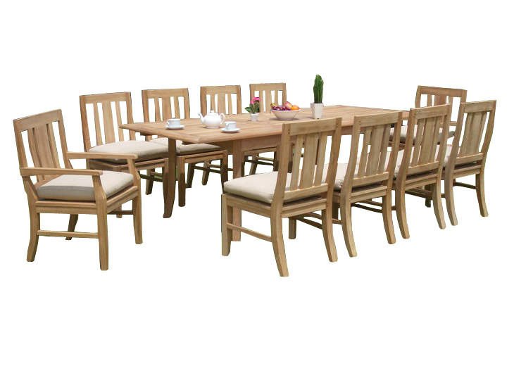 "11 PC A Grade Outdoor Patio Teak Dining Room Set 94"" Double Extension Rectangle Table & 10 Osawa Chairs... by"