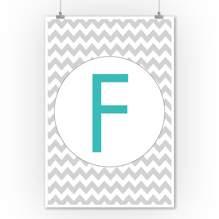 Monogram - Chevron - Gray & Teal - F (9x12 Art Print, Wall Decor Travel Poster) ()