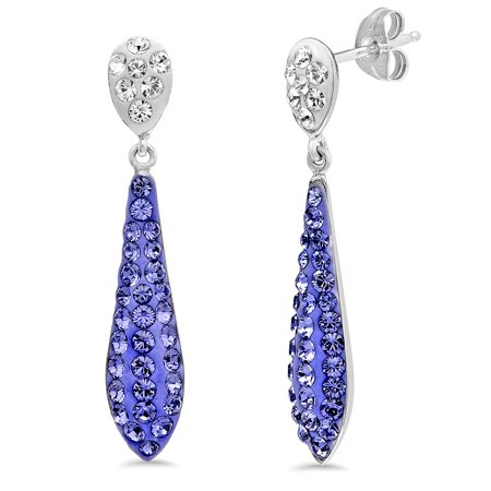 Sterling Silver Purple Crystal  Drop Earrings made with Swarovski Crystals