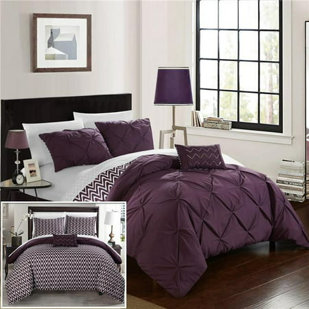 Everly Pinch Pleated, Reversible Chevron Print Ruffled & Pleated Complete Bed in a Bag Comforter Set with Sheets - Purple - Full & Queen - 8 Piece ()