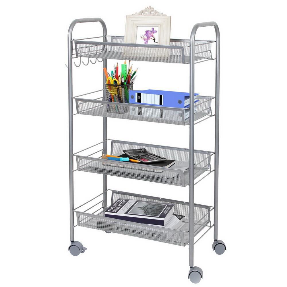 Ktaxon 4 Tier Shelf Shelving Rack Rolling Kitchen Pantry Storage Utility  Cart