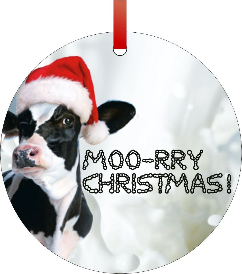 Moory Christmas Cow Quote Tm Double Sided Round Shaped Flat Aluminum Christmas Holiday Hanging Ornament With A Red Satin Ribbon Made In The Usa Walmart Com Walmart Com