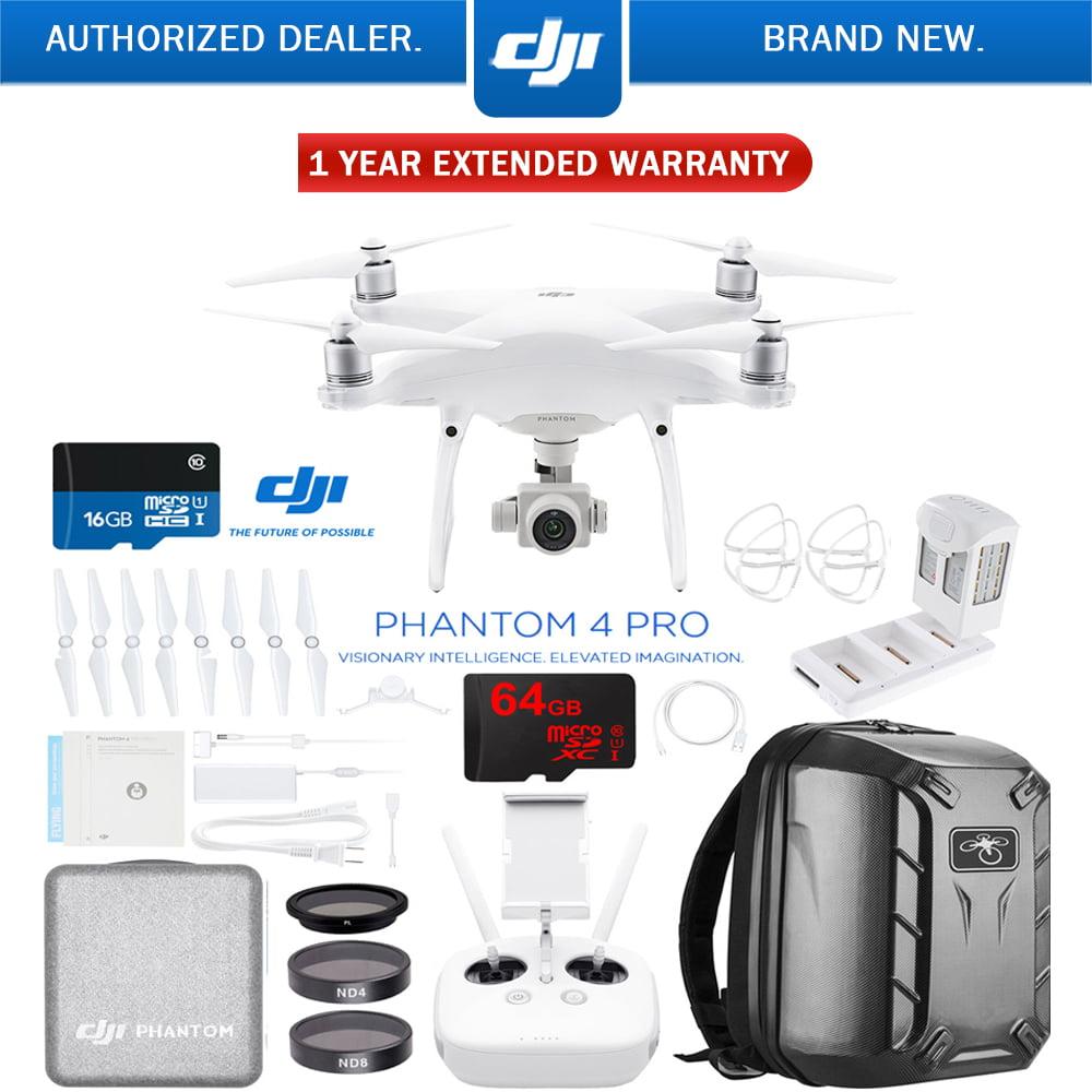 DJI Phantom 4 Pro Quadcopter Drone with Battery Charging Hub, Carbon Fiber Hardshell Backpack, 64GB Memory... by DJI