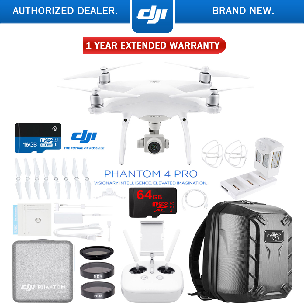 DJI Phantom 4 Pro Quadcopter Drone with Battery Charging Hub, Carbon Fiber Hardshell Backpack, 64GB Memory Card, Filter Kit, and 1 Year Extended Warranty (CP.PT.000488)