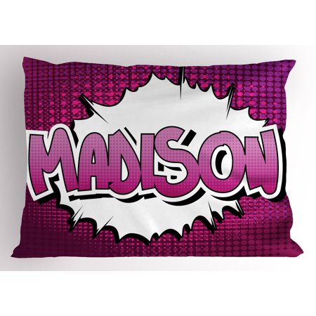Madison Pillow Sham Female Name in Feminine Colors for Girls Birthday Celebration Cartoon, Decorative Standard Size Printed Pillowcase, 26 X 20 Inches, Fuchsia Pink and White, by Ambesonne