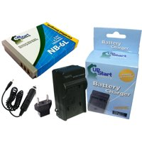 Canon PowerShot SD1300 IS Battery and Charger with Car Plug and EU Adapter - Replacement for Canon NB-6L Digital Camera Batteries and Chargers (1000mAh, 3.7V, Lithium-Ion)