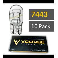 Voltage Automotive 7443 Automotive Brake Light Turn Signal Side Marker Tail Light Bulb (10 Pack) - Standard Replacement