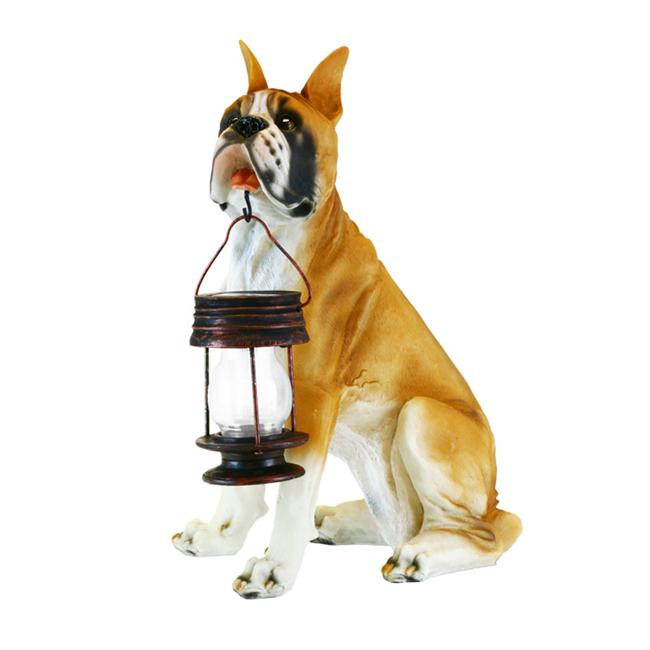 Garden Sun Light B5186A Boxer Dog With Lantern Solar Light