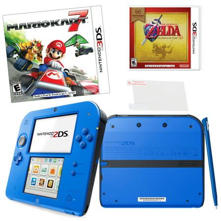 Nintendo 2DS Blue Mariokart 7 Bundle with Zelda Ocarina and Screen Protector