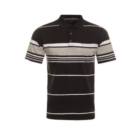 Hawks Bay Mens Variegated Stripe Short Sleeve Polo Soft Touch Finish Black Small