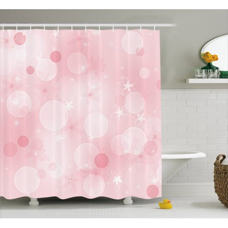 Light Pink Shower Curtain Floral Background With Hazy Bubbles And Flower Icons Romantic Flourish Image Fabric Bathroom Set Hooks 69W X 84L Inches