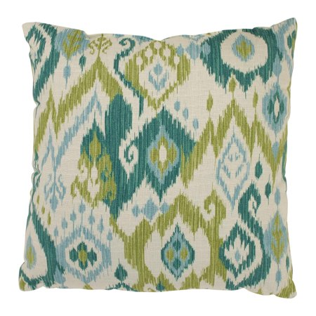Gunnison Teal Blue and Green Dyed Indonesian Cotton Throw Pillow 16.5