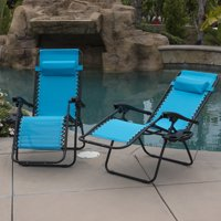 Belleze 2-Pack Zero Gravity Chairs Patio Lounge +Cup Holder/Utility Tray (Sky Blue)