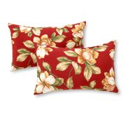 Roma Floral 19 x 12 in. Outdoor Rectangle Accent Pillow, Set of 2