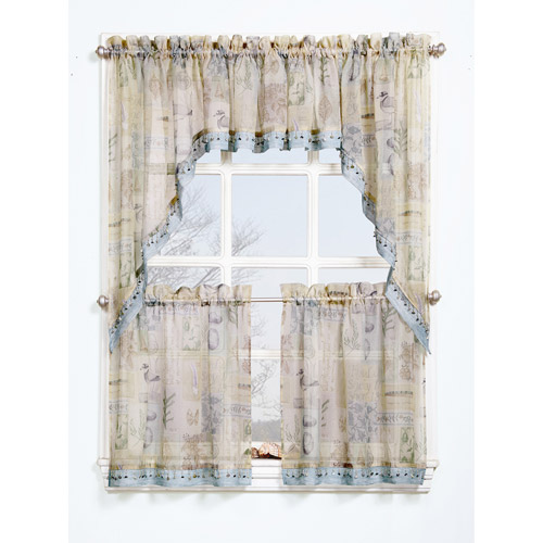 Seascape Textured Sheer Printed Curtain Valance