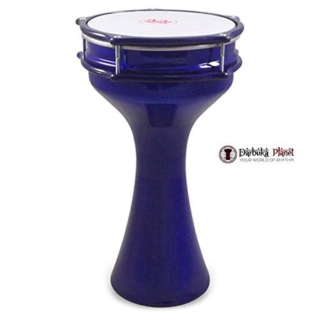 Zaza Percussion 16'' Turkish Aluminum Blue Darbuka Doumbek, Synthetic - Turkish Doumbek