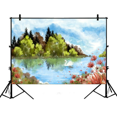 Swamp Backdrop (PHFZK 7x5ft Watercolor Landscape Backdrops, Beautiful Swan Lake Artwork Photography Backdrops Polyester Photo Background Studio)