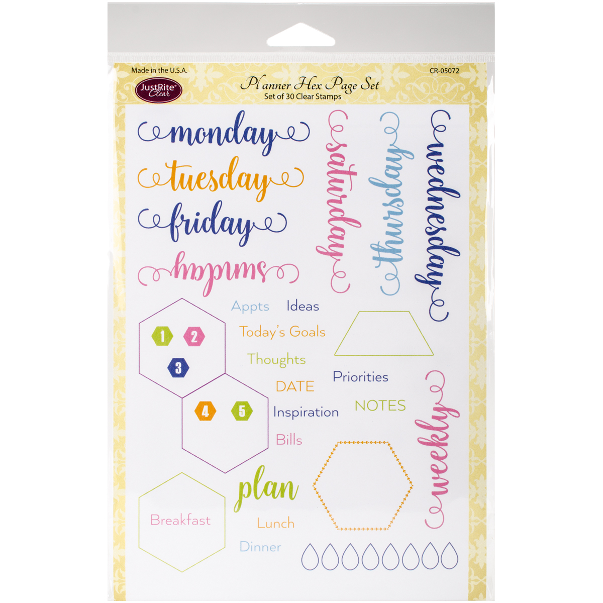 """Justrite Papercraft Clear Stamps 6""""X8""""-Planner Hex Page"""