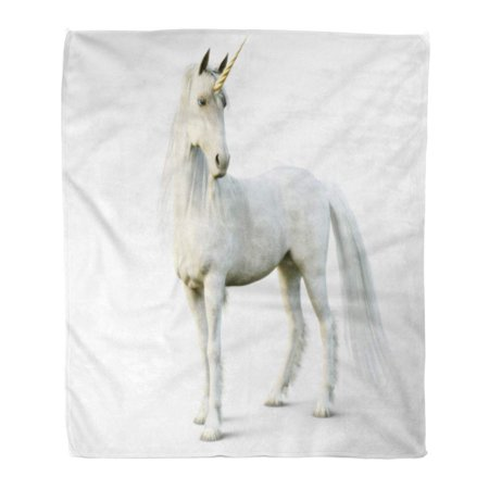 HATIART Flannel Throw Blanket Horse Mythical White Unicorn Posing on 3D Rendering Horn Pure 50x60 Inch Lightweight Cozy Plush Fluffy Warm Fuzzy Soft - image 1 of 4