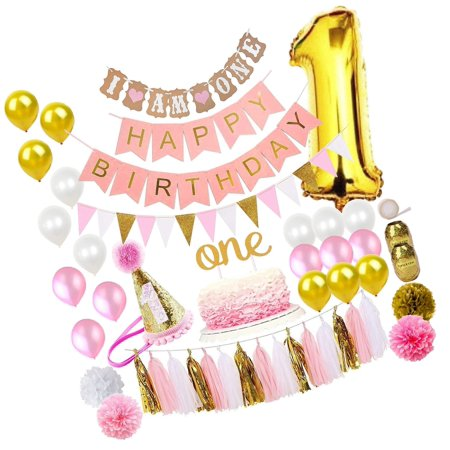 FunDeco Party 1st Birthday Decorations for Girl 'Mega Bundle' | Pink and Gold...](Girl 1st Birthday Decorations)