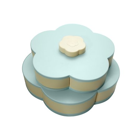 Double Layers Snack Box Candy Plates Petal-Shape Rotating Snack Tray Double-deck Dried Fruit Plate Storage Organizer Box - image 1 of 7