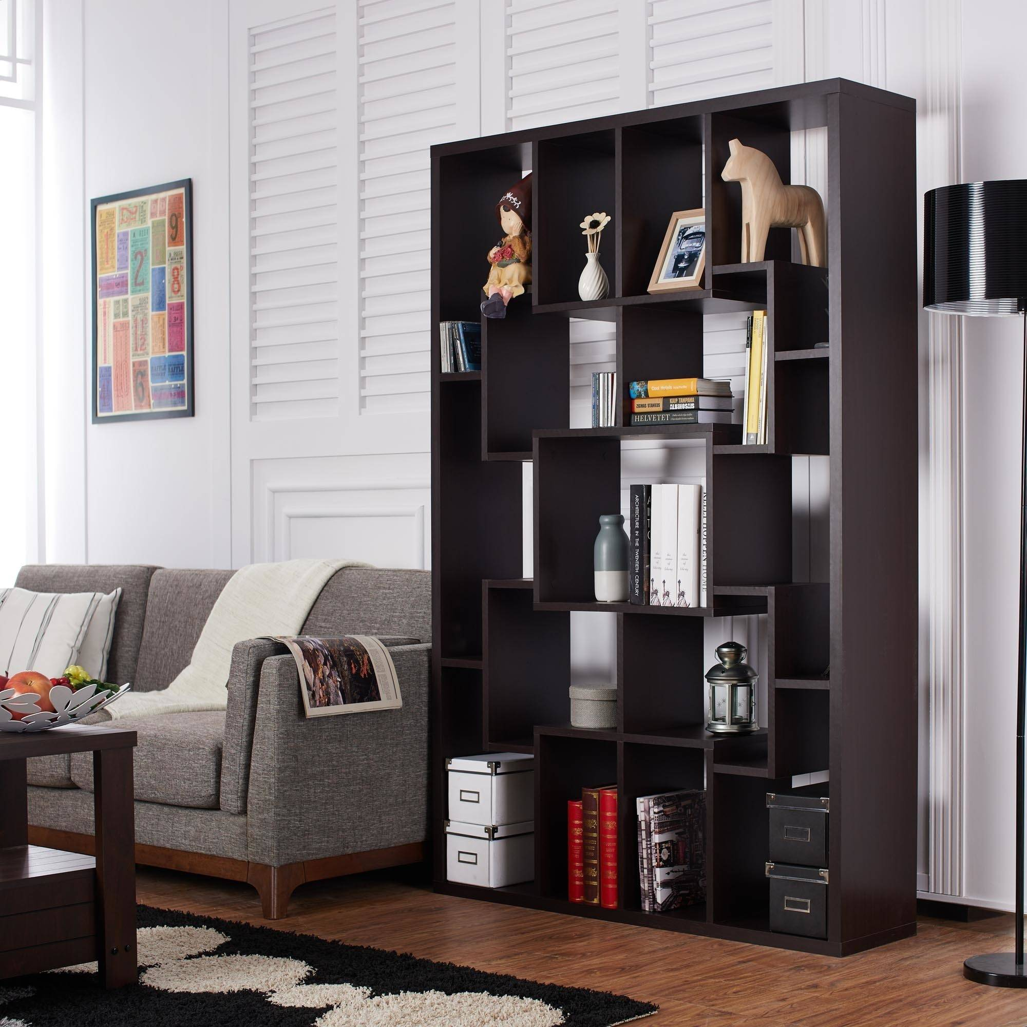 Furniture of America Bryson Multi-Shelf Display Case, Walnut