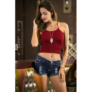 Women Sleeveless Spaghetti Strap Casual Camisole Top Wearing Red Vine