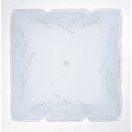 Satco 12in Ruffled Glass Square Lamp Shade White Wheat