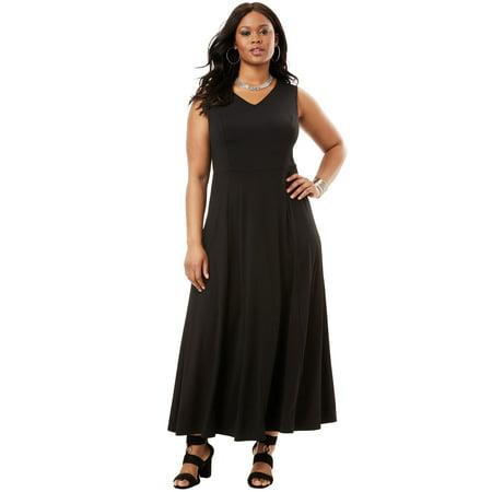 Roaman\'s - Plus Size V-neck Flared Maxi Dress - Walmart.com