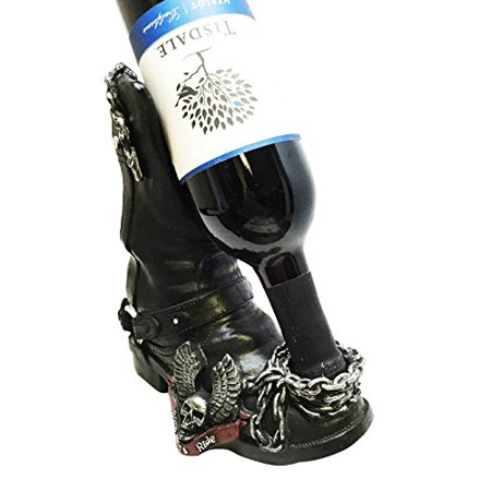 Born To Ride Biker Angel Wings Skull Boot Oil Wine Bottle Holder Figurine Kitchen Centerpiece Decor Wine Cellar Sculpture