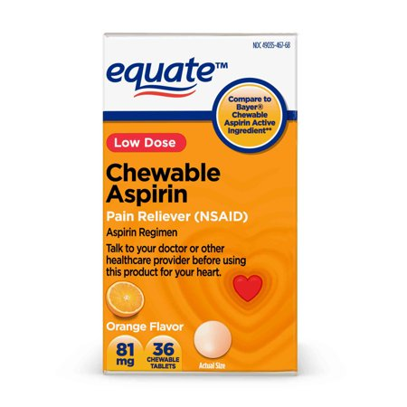 Equate Aspirin 81 mg Pain Reliever (NSAID) Chewable Tablets, Low Dose Aspirin, Orange Flavor, 36 Count