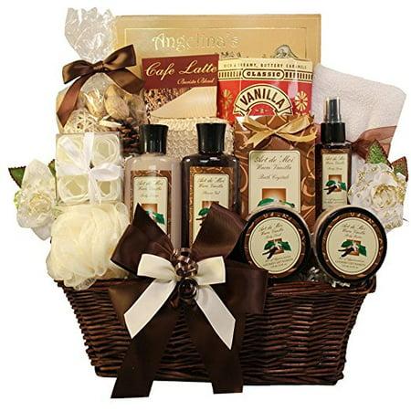 Gift Baskets Canada Spa - Essence of Luxury Warm Vanilla Spa Bath and Body Gift Basket Set