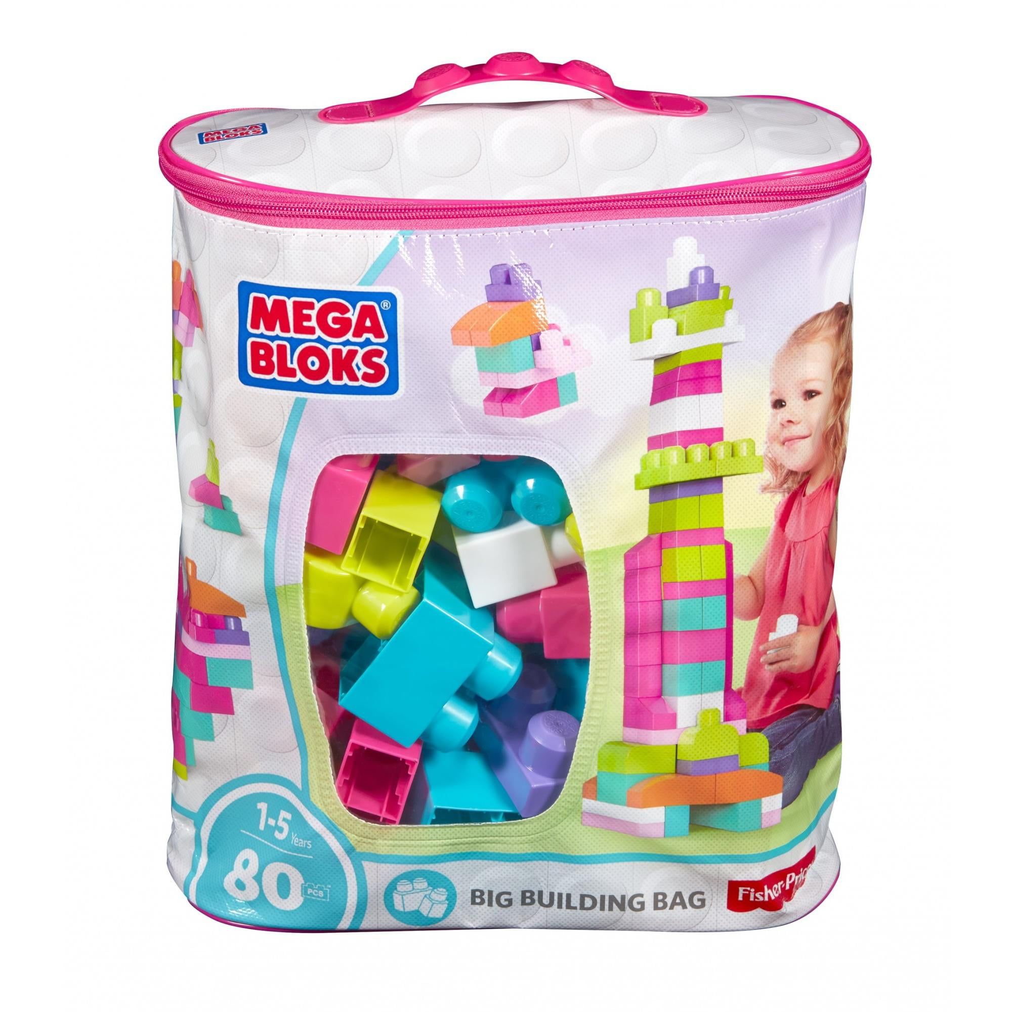 NEW Mega Bloks Big Building Bag Pink 80 Piece FREE SHIPPING