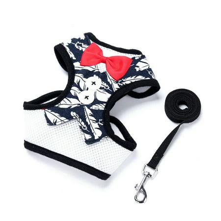 Safety Adjust Puppy Dog Harness Breathable Dog Vest Bowtie Suit+Leash 120CM - image 1 of 1