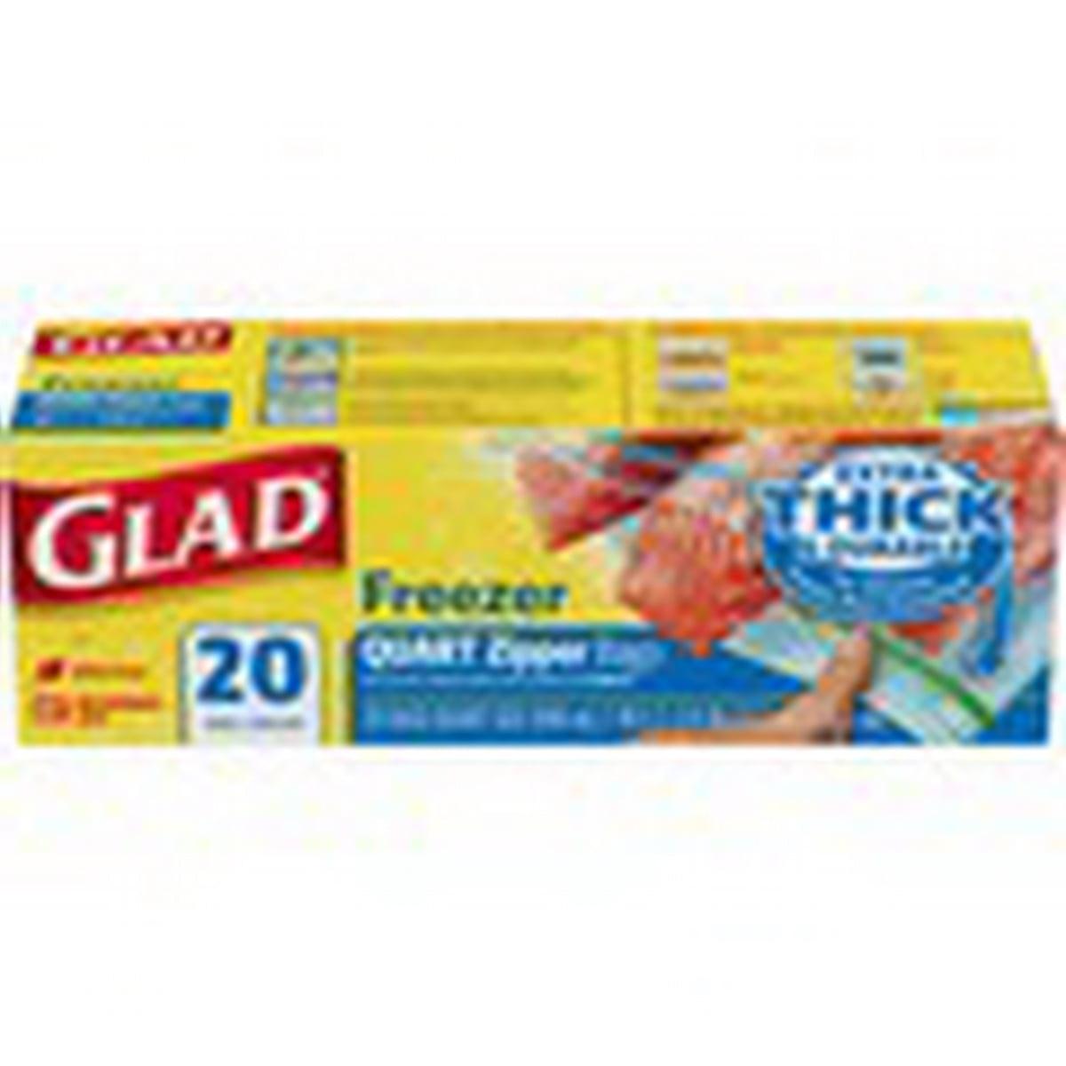 (Price/Pack)Glad 57035 Bags Freezer Zipper Quart 12-20 Count