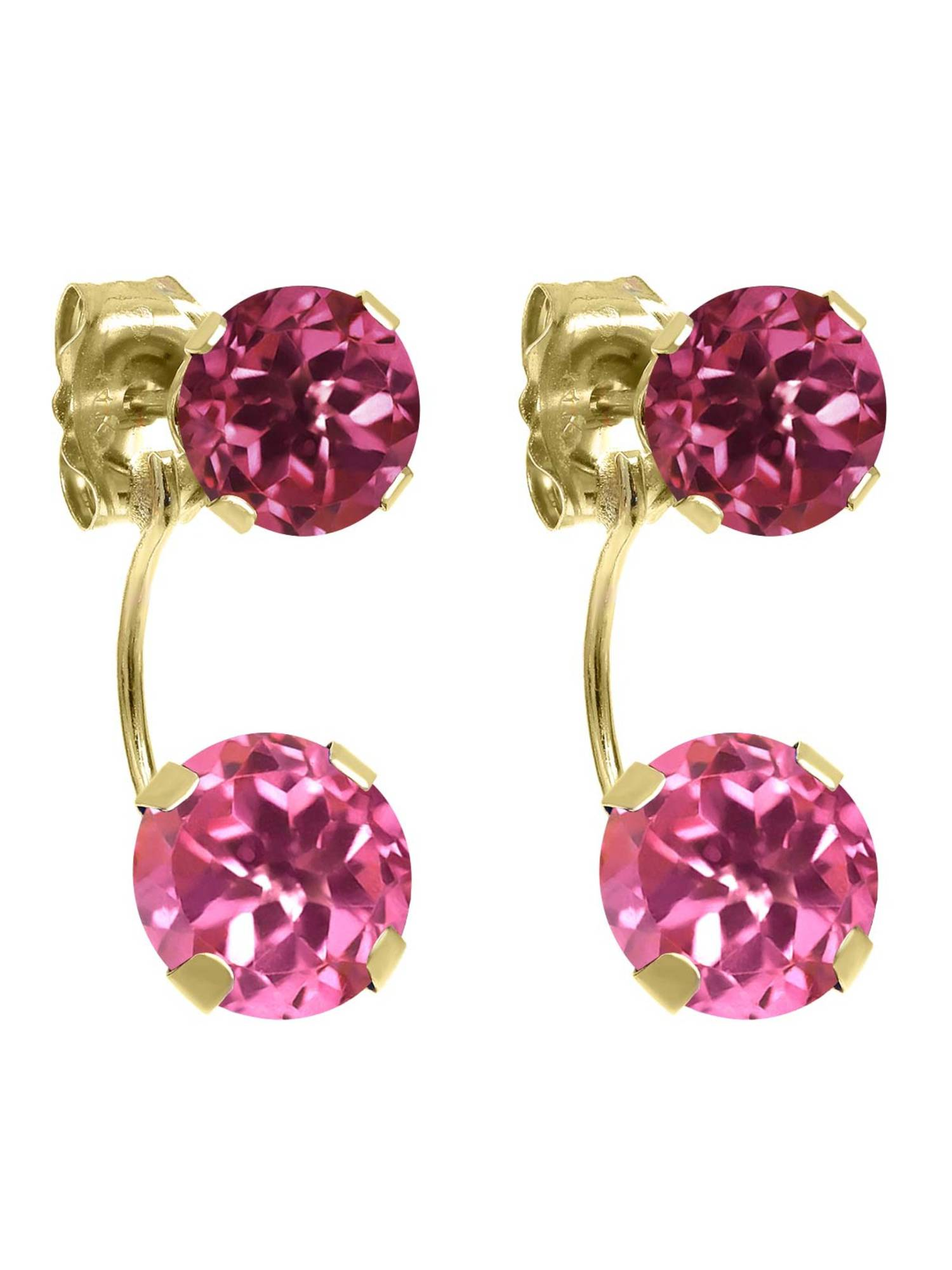 3.00 Ct Round Pink Mystic Topaz Pink Tourmaline 14K Yellow Gold Earrings by
