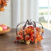 """Way to Celebrate Harvest Gold Pumpkin Frame Floral Tabletop Decoration, 9"""""""