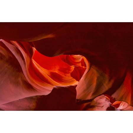 Red rock illuminated in Antelope Canyon Arizona United States of America Canvas Art - Angela A Stanton  Design Pics (19 x 12)