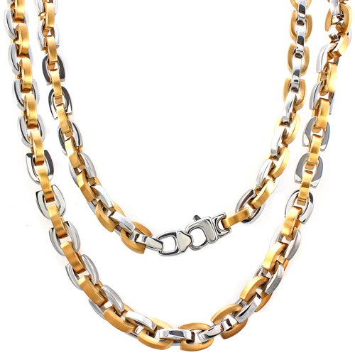 Men's Yellow and White Stainless Steel U-Link Chain, 24""