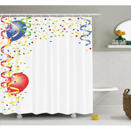 Kids Party Shower Curtain, Children's Birthday Concept with Balloons and Confetti Happy Surprise Cheerful, Fabric Bathroom Set with Hooks, 69W X 75L Inches Long, Multicolor, by Ambesonne