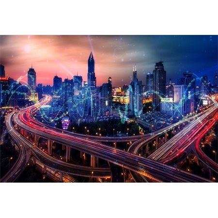 70s Backdrop (GreenDecor Polyester 7x5ft Modern City Buildings Backdrop Metropolis Viaduct Photography Background Flyover Overpass Urban Nightscape Adult Man Artistic)