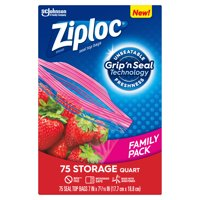 Ziploc Brand Storage Quart Bags with Grip 'n Seal Technology, 75 Count