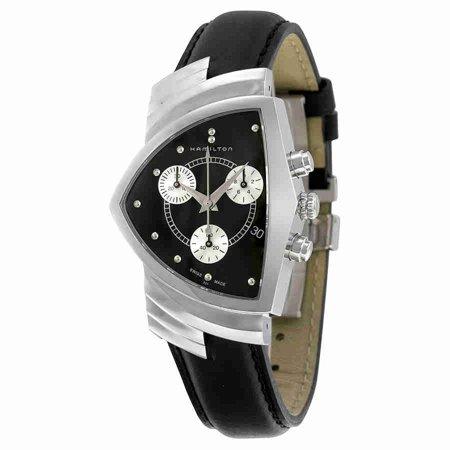 Hamilton Ventura Chrono Black Dial Black Strap Mens Watch
