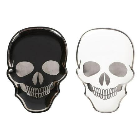 Black and White Skeleton Skull Heads Tidbit Serving Dishes Set of 2 Ceramic ()