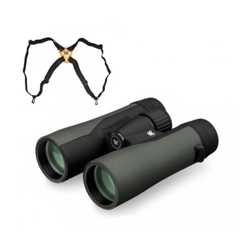 Vortex Crossfire 8x42 Binocular, Green CF-4301 w/Vortex Binocular Harness Strap