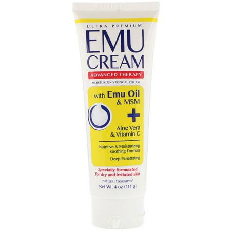 Natural Treasures Emu Oil Cream w/MSM, Aloe, & Vit C 4 Ounce, Pack of (Natural Treasures Emu Oil)