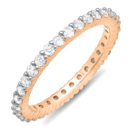 Dazzlingrock Collection 1.00 Carat (ctw) 10k Round Diamond Eternity Anniversary Stackable Wedding Band 1 CT, Rose Gold, Size 7.5