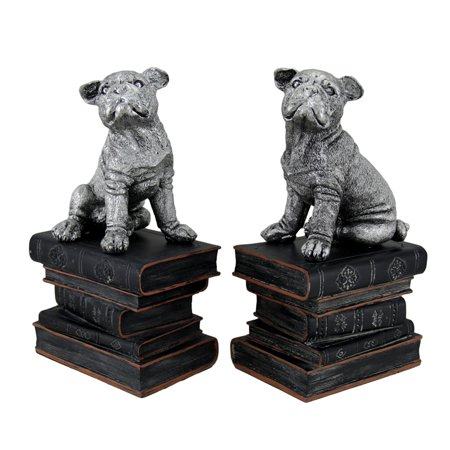 Wrinkle Dogs On Books Antique Silver Finish Decorative Bookends - image 4 of 4